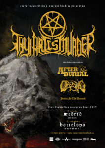 THY ART IS MURDER, AFTER THE BURIAL, OCEANO Y JUSTICE FOR THE DAMNED EN MADRID @ Sala Caracol